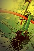 Vintage Look At One Bicycle Detail In The Morning Light