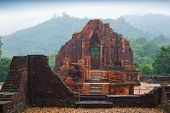 image of champa  - MySon temples in cloudy weather in  Vietnam - JPG