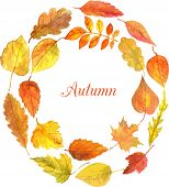 round template with autumn leaves in watercolor