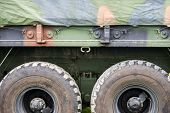foto of military personnel  - A close up view of the side of a military personnel transport truck used by the Canadian Armed Forces army - JPG