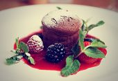 Chocolate fondant with berry sauce on plate, close-up, toned image
