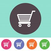 foto of cart  - Vector shopping cart icon on round colorful buttons - JPG
