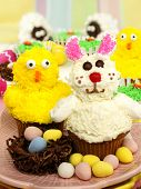 Easter animal cupcake display