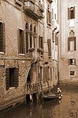 Italy. Venice. Romantic Canal. In Sepia Toned. Retro Style