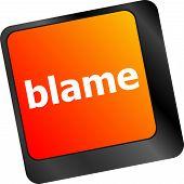 Blame Button On Computer Pc Keyboard Key