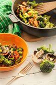 Fresh Prepeared Broccoli With Mushrooms
