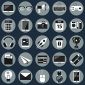 pic of financial management  - Flat icons design modern vector illustration set of various financial service items mobile web and technology development business management symbol marketing items office equipment news - JPG