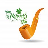an isolated golden pipe and text for patrick's day
