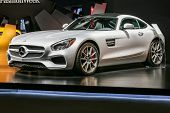 NEW YORK - FEBRUARY 14: A new 2016 Mercedes-AMG GT S shoving on Fall/Winter 2015 collection during Mercedes-Benz Fashion Week in New York on February 14, 2015.