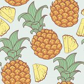 Pineapple With Slice Seamless Pattern