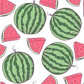 Juicy Watermelon Seamless Pattern In Vector