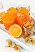 sweet orange juice on white