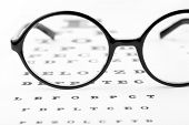 Glasses on eye chart close-up