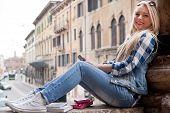 Stutent Girl Spending Some Time Outdoors