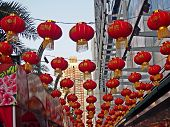Decorated Red Lanterns On New Year Chinese