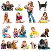 collection photos of young children with dogs and rabbits on a white background