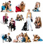 stock photo of puppies mother dog  - collection photos of children and adults with a cute dogs on a white background - JPG