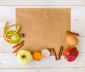 foto of pie  - food ingredients for the preparation apple pie on a white wooden background - JPG