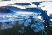 Natural Blue Ice On The Lake