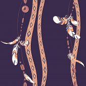 Dreamcatcher feathers and beads seamless pattern