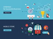 Set of flat design vector illustration concepts for strategy of successful business, online shopping