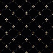 picture of fleur de lis  - Seamless vector gold pattern with Fleur - JPG