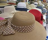 Sun hats on a market