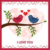 Lovers and happy birds on tree with hearts.