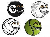 Tennis, golf, volleyball, billiard cartoon balls