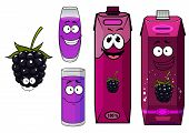 Cartoon happy blackberry juice characters