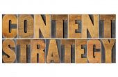 content strategy - isolated text in letterpress wood type printing blocks