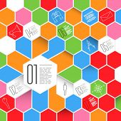 Hexagons  Infographic Design with Icon Set. Business Modern Template for your Data.
