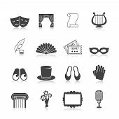 pic of comedy  - Theatre icon set black with mask curtain scroll harp isolated vector illustration - JPG