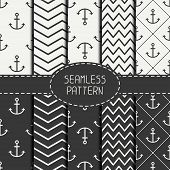 picture of anchor  - Set of monochrome marine geometri seamless pattern with anchor - JPG
