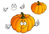 image of halloween characters  - Orange cartoon cheerful pumpkin vegetable character with green large stalk for halloween party decoration or vegetarian concept design - JPG