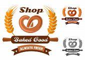 Bakery shop emblem or logo with pretzel