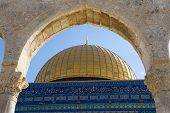 foto of cupola  - The cupola of the Dome of the rock on the Temple Mount in Jerusalem - JPG