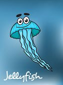 Cartooned blue jellyfish with flowing long tentacles