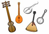 Folk stringed musical instruments design elements
