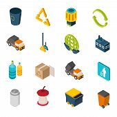 image of garbage bin  - Garbage isometric icons set with trash can recycling symbol and truck isolated vector illustration - JPG