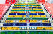 Colorful mosaic tile stairway in Lapa, Rio de Janeiro