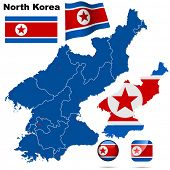 North Korea set. Detailed country shape with region borders, flags and icons isolated on white background.