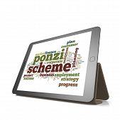 Ponzi Scheme Word Cloud On Tablet