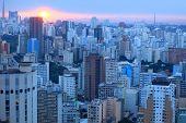 Sun set over Sao Paulo city