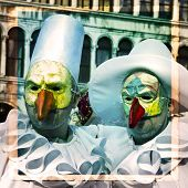stock photo of venice carnival  - Carnival of Venice beautiful masks at St. Mark