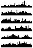Islamic or arabic cityscape black silhouettes