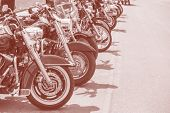 Motobikes In A Row On Sepia