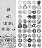Set of 50 Ornament round mandalas