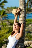 Woman Enjoying Tropical Vacation Travel