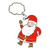 funny waving santa claus cartoon with thought bubble